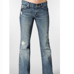 7FAM Havana Flare Light Wash Distressed Jeans 26